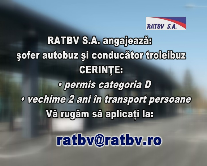Anunt angajare RATBV SA